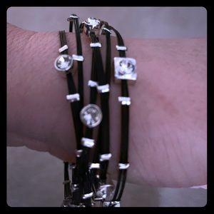 Designer influenced Black wired stacking bracelets